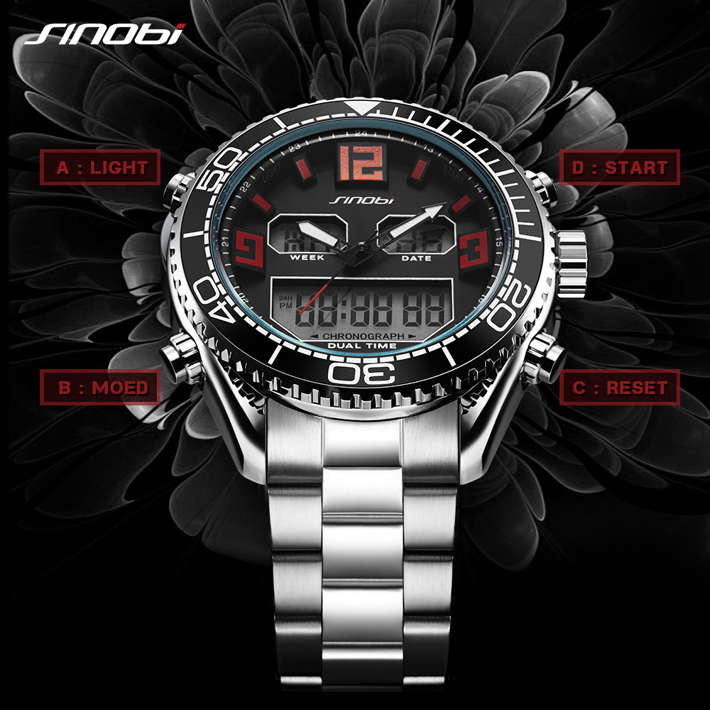 SINOBI Top Brand Luxury Mens Watches Fashion Casual Sport Wrist Watch Men Digital LED Clock Military Sports relogio masculino mens watch top luxury brand fashion hollow clock male casual sport wristwatch men pirate skull style quartz watch reloj homber