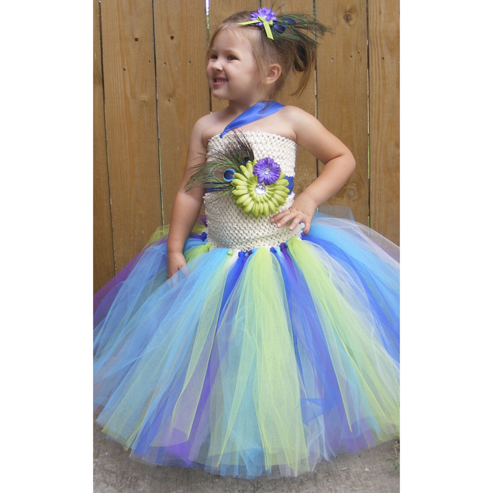 Peacock Girl Tutu Dress Casual Feather Flower Baby Girls Ankle Length Dress Brief Peacock Flower Girl Dress for Kids Photo Prop beibehang chinese peacock feather flower