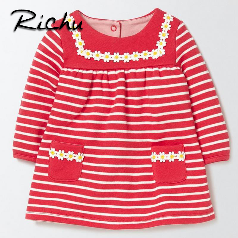 Richu  winter dress for girls 6 years red china children clothes striped kids dresses for girls cotton new year clothes floral hello bobo girls dress collection of sports in the new year is suitable for 2 to 6 years old children s clothing