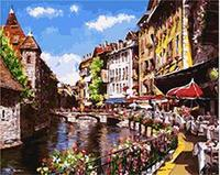 MaHuaf W368 Town Acrylic Paint By Numbers Oil Painting Gift Coloring By Numbers Frameless Picture On