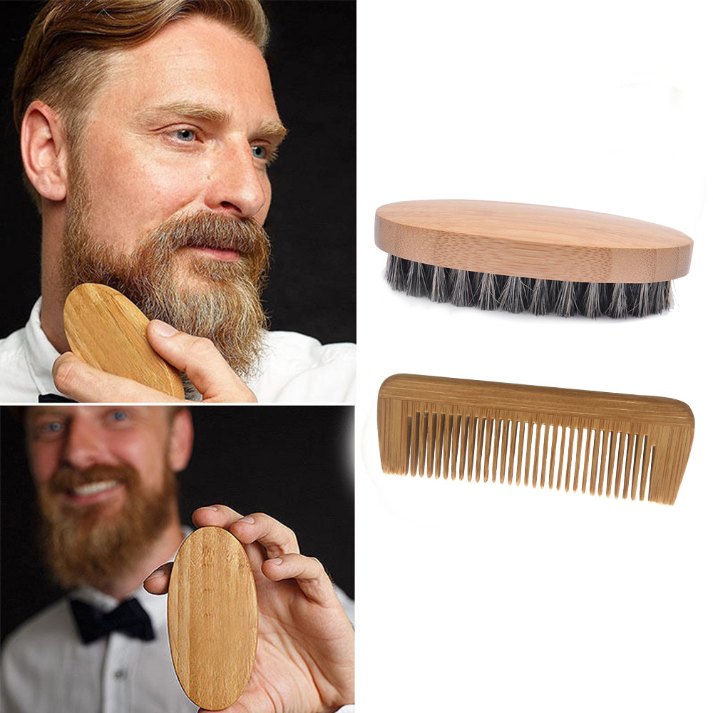 High Quality Men Bristle Beard Comb Mustache Boar Hair Brush Military Hard Round Wood Comb maquiagem profissional completa New