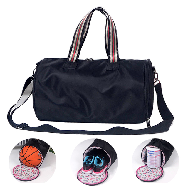 Black 2018 Very Beautiful Women Fitness Bag Sports Yoga Bag Men Gym Bags  Independent Shoe Bag Travel Basketball Sac De Sport f10fbd9b796b2