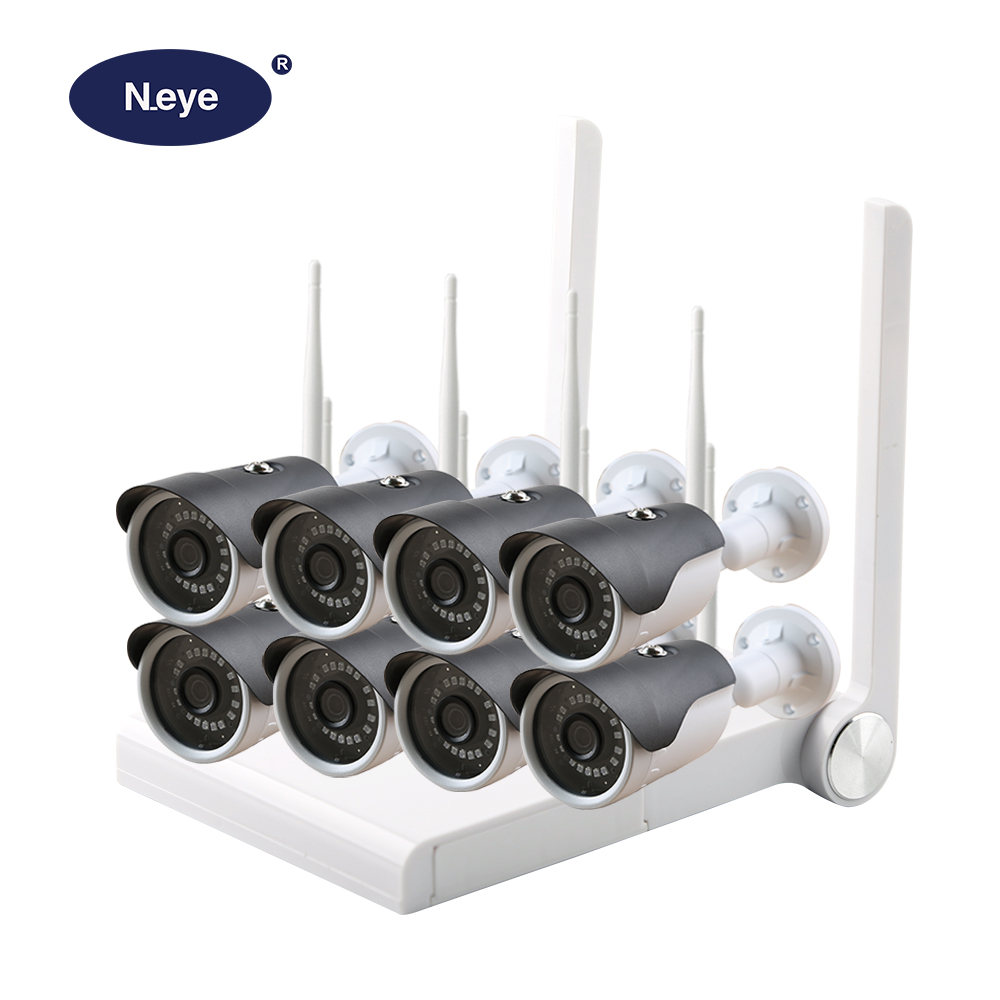 N eye Professional Wireless CCTV Camera System HD 1080P 8CH Waterproof Home Security Video Surveillance Kit
