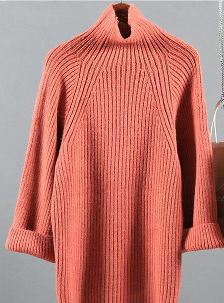 Rojo Invierno Corto blanco El Y coral Alto Color Bf De Diseño Termal Engrosamiento Hembra Rosado Suelta Cuello Otoño Sólido amarillo Del Suéter 41qZpxxw