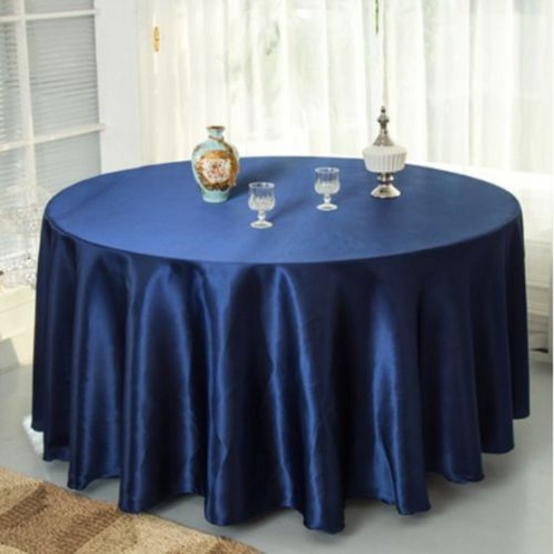 10pcs Navy blue 120 Inch Round Satin Tablecloths  Table Cover for Wedding Party Restaurant Banquet Decorations-in Party DIY Decorations from Home & Garden    1