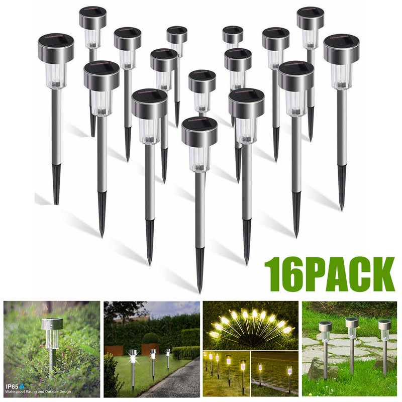 16 Pack Solar Garden Lights Outdoor Solar Powered Pathway Lights Outdoor Landscape Spot Lights LED For Villa Garden Park Balcony