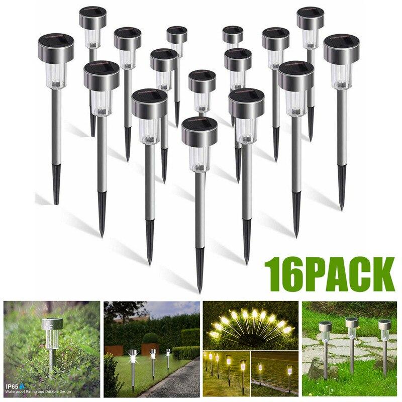 Paquete de 16 luces solares de jardín, luces de camino de energía Solar para exteriores, focos de paisaje LED para Villa, jardín, parque, balcón