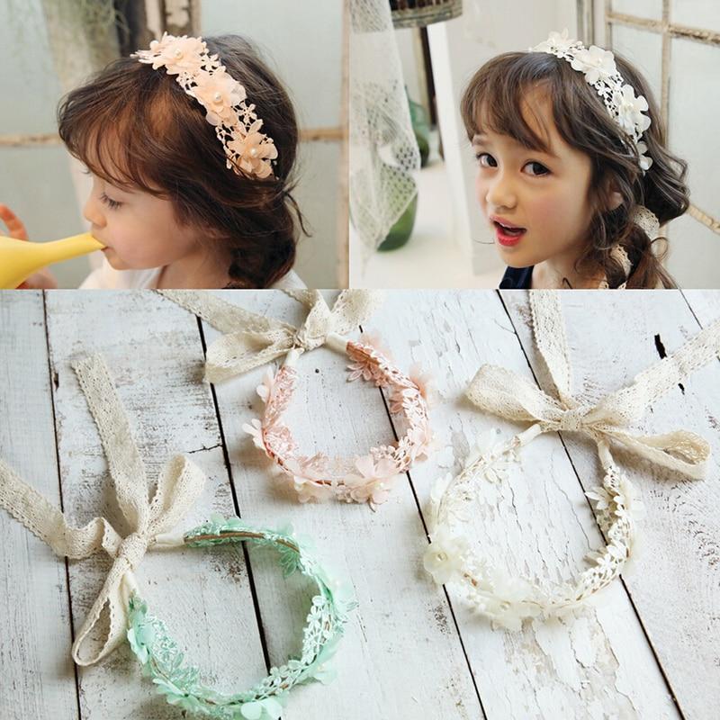 MeryYuer Korean Fashion Sweet Princess Headband Long Lace Ribbon Flower Hairbands Wreath Girls   Headwear   Kids Hair Accessories