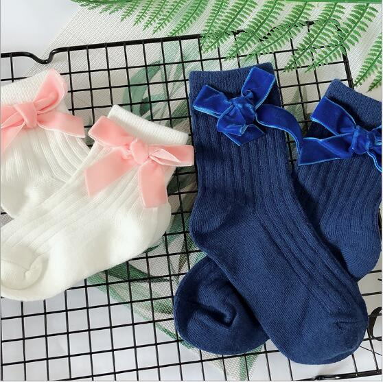 Girls Bow Socks New Autumn Winter Child Candy Color Princess Lace Cotton Sweet Kids Children Socks 5