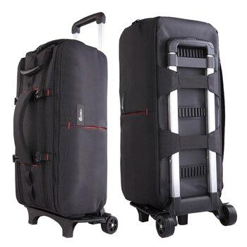 Foto cámara vídeo Nylon hombros mochila Trolley caso grueso acolchado impermeable para Canon Nikon Sony DSLR lentes largas VD113V