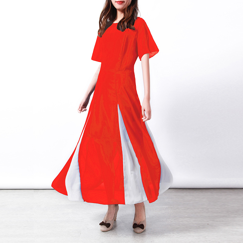 Chiffon A-line Patchwork Dresses Woman Spring Summer Short Sleeve O-neck Ankle-length Female