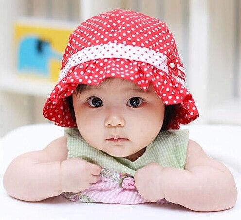 infant sun hats 3- 36 months blue pink red dot kids bucket cap toddler girls baby sunhat