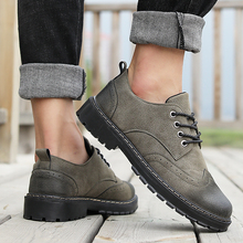 2018 new arrival spring/autumn casual PU shoes man comfortable vintage brogue size 39-44 black gray army green brown 3