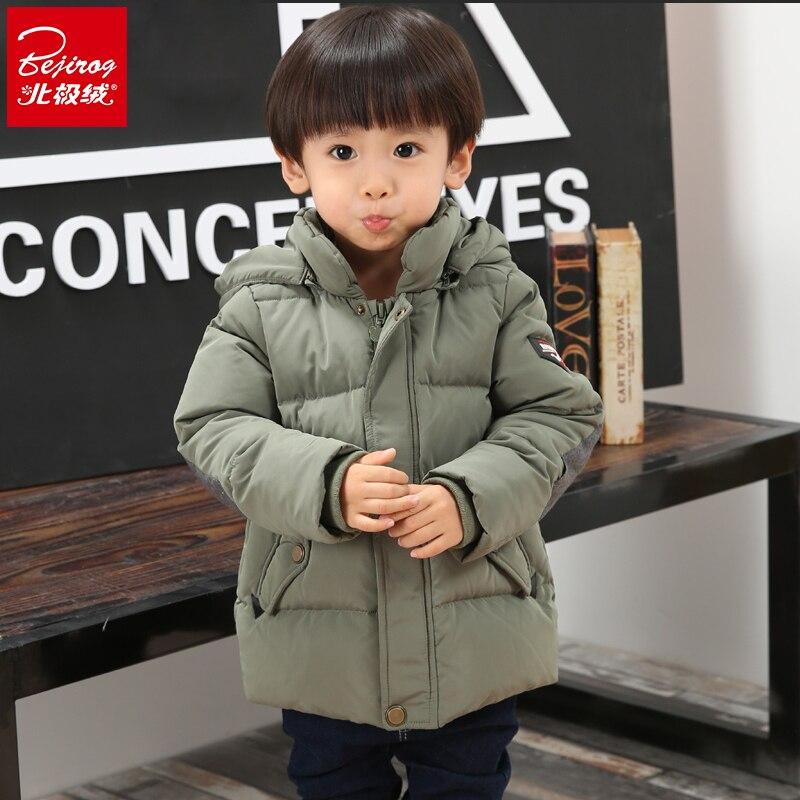 2016 yeni bejirog çocuk aşağı uzun bölümünde bebek erkek çocuk kapüşonlu kalın kış paragraf çocuk kış ceketler