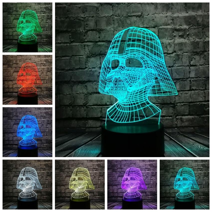 NUEVO Star Wars Darth Vader Dark Warrior 3D Night light USB LED - Luces nocturnas - foto 5