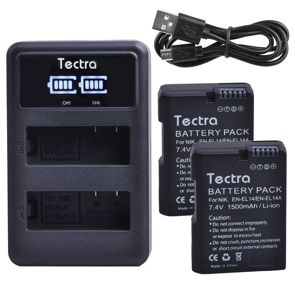 Batterien Led-anzeige Usb Dual Ladegerät In Vielen Stilen Stromquelle Besorgt 1500 Mah 2 Stücke En-el14 En-el14a Batterie Für Nikon D5200 D3200 D3300 D3400 D5100 D3500 Enel14 Batterie