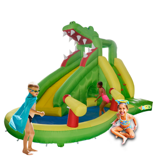 YARD Free Shipping Cute Crocodile Inflatable Bouncer Summer Water Bouncy Slide Air Toy Combo For Kids Exercise