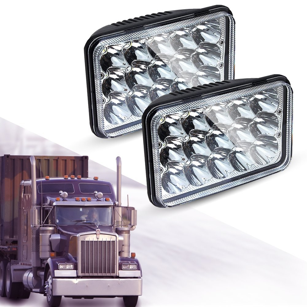 2X 4x6 Headlights 45w Rectangle High Low Beam H4 4x6 led headlights Replace HID Xenon H4651 H4652 H4656 H4666 H6545 Projector