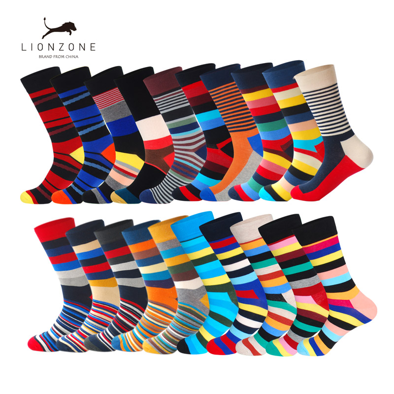 Fashion Business Mens Combed Cotton Long Socks Spring Newly Colored Striped Funny Wedding Happy Socks Gift 2Pairs/Lot