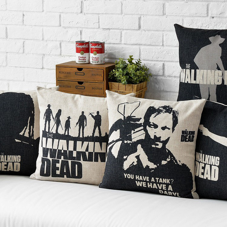 2016 pillow massager the walking dead tv drama movie posters around british pop car office sofa cushion emoji pillowcases 1pc in cushion from home garden