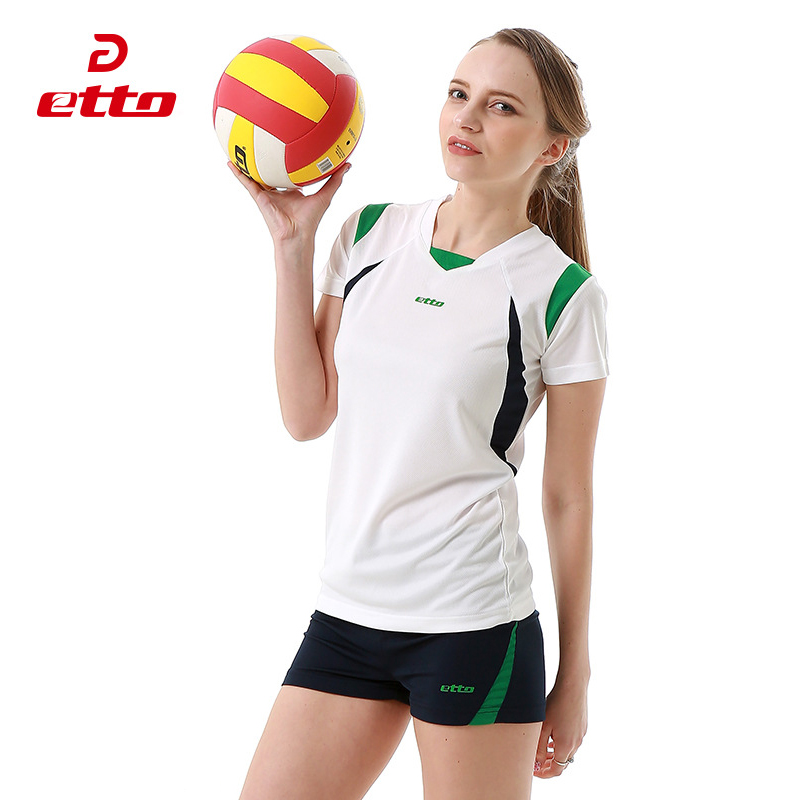 цены  Etto Professional Volleyball Jerseys Women Sleeveless Volley ball Training Set Soft Outdoor Sports Fitness T-shirt Shorts HXB007