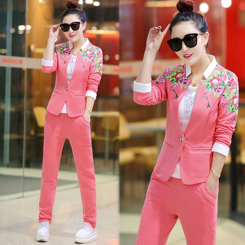 DHfinery 3 piece set femmes casual pleine manches bleu rose survêtement Crop Top + gilet + pantalon trois pièces ensemble plus la taille M-5xl BS5352 - 2