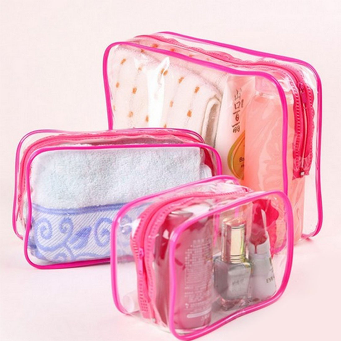 3PCS/Set Waterproof Transparent Cosmetic Bag Women Portable Toiletry Kits Cosmetic Organizer Brand Make Up Bags Free Shipping