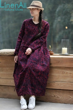 Cotton clothing women's vintage jean clothes V-neck red blue long loose pullover dress robe LinenAll YIJIU