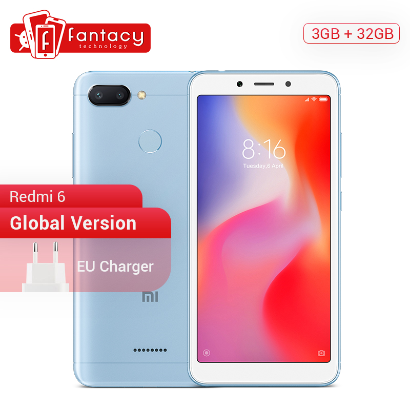 Global Version Xiaomi Redmi 6 3GB 32GB 5.45'' HD Full Screen 18:9 SmartPhone Helio P22 Octa Core AI Dual Camera 12MP+5MP CE FCC