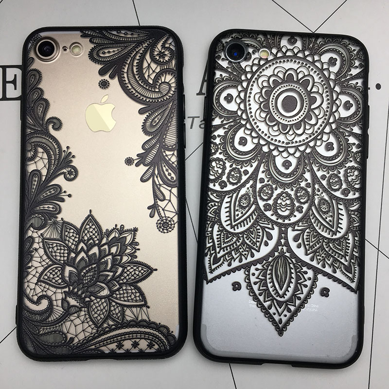 Kerzzil 3D Lace Mandala Rose Case For IPhone 7 6 6S 8 Plus Sunflower Soft TPU Cases Cover Back