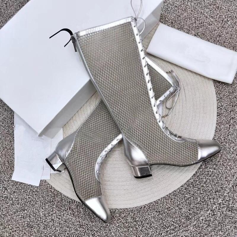 Donne Sistema Boots Roma Tacco Caricamenti silver black Sexy Tessuto Maglia Boots Alto Caviglia Donna Lunghi Ankle Stivali Mid Fasciatura Freddi Silver Del Estate Sandali Long Stile Boots Nuovo Di MUzSVp