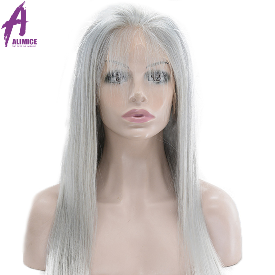 Alimice Hair Brazilian Lace Front Human Hair Wigs Remy Hair Grey Colored Straight Lace Wig With