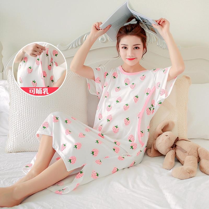 Pregnant Woman Night Skirt Cotton Confinement Serve Summer Postpartum short Sleeve Go Out Nurse Lactation Night dress 2018 new