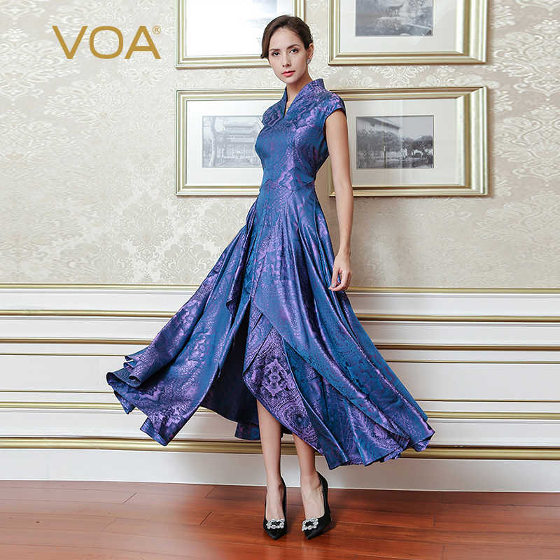 VOA automne mode violet soie lourde Jacquard Vintage Style chinois col en V robe grande taille femmes mince Maxi robes ALX11601