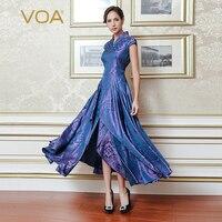 VOA 2018 осень мода фиолетовый тяжелый шелк жаккард Винтаж китайский стиль V образным вырезом платье плюс размеры для женщин узкие Макси платья