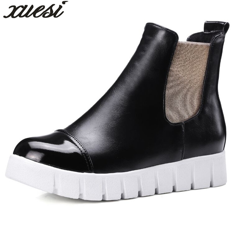 2018 Lockable Boots Women Leather Boots Bota De Couro Feminina Ladies Boots Shoes Woman Zapatos Mujer Leather Shoes Women 34-43 fashion white silver boots women punk boot shoes woman 2018 spring super cool ankle boots for women bota feminina zapatos mujer