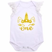 2016 Fashion White Print Gold Character 1st Birthday Princess Baby Bodysuits,Kid Unisex Cotton Unicorn Girls Toddler Clothing(China)