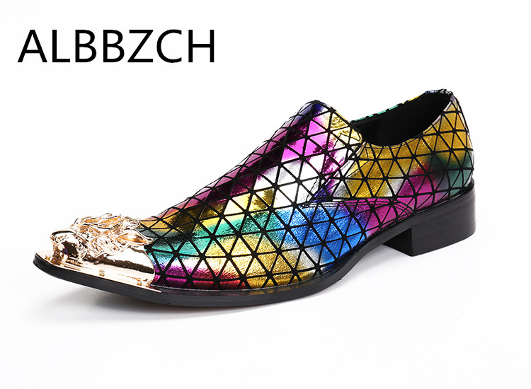 New mes fashion rainbow printing leather casual shoes mens loafers luxury mental pointed toe slip on career work shoes szie 46New mes fashion rainbow printing leather casual shoes mens loafers luxury mental pointed toe slip on career work shoes szie 46