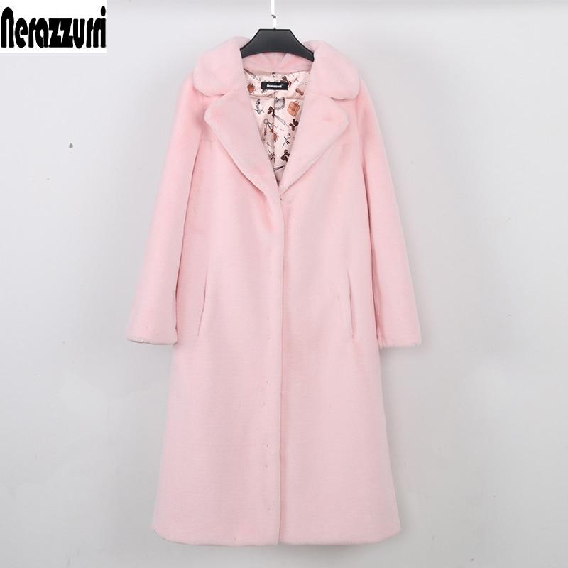 Femelle Hiver Épais Rose Outwear Chaud 2018 De Femme Nerazzurri Manteau Veste Pink La Taille Plus 5xl 4xl Long 7xl 6xl Fausse Faux Fourrure PnYfq
