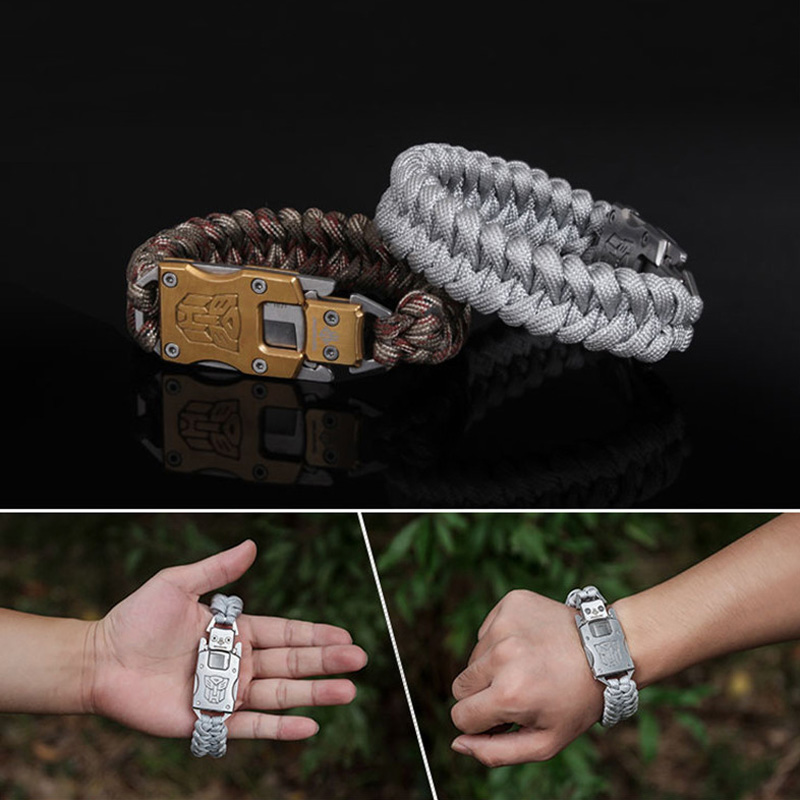 EDC Tactical Paracord Umbrella Rope Bracelet Packet Knife Stainless Steel Buckle Rope Paracord Bracelet Outdoor Survival tools stainless steel u shaped adjustable 4 hole shackle buckle for paracord bracelet silver 6 pcs