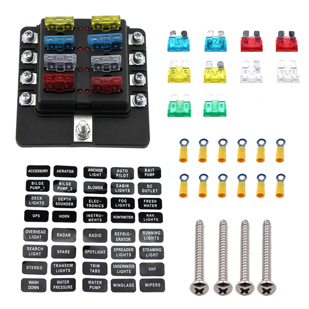 Fuse Box For Kit Cabins Wiring Library Motorcycle Holder 8 Way Blade With Led Warning Light Car Boat Marine Trike