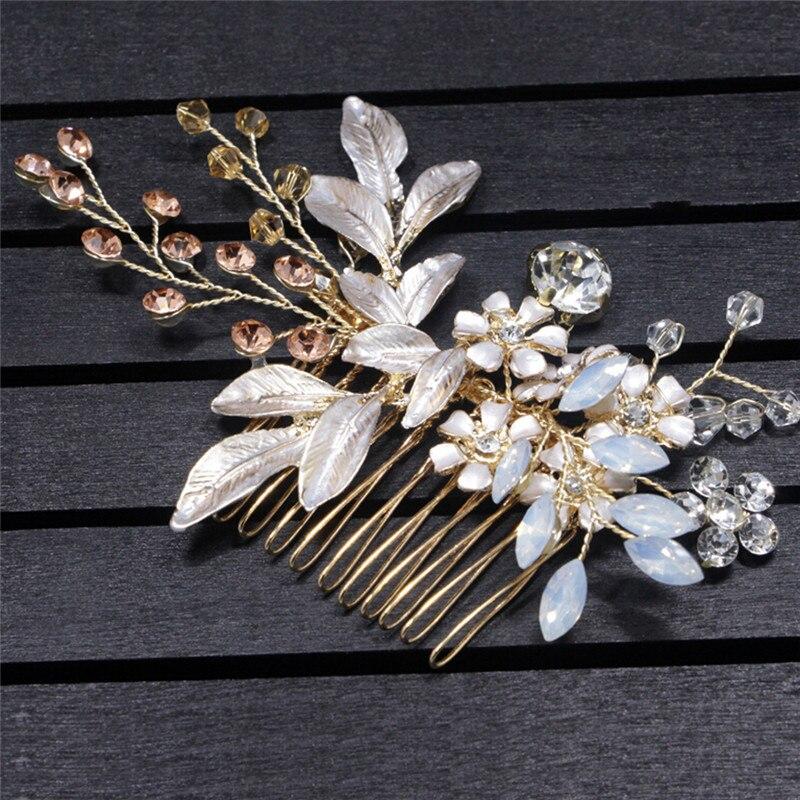 花びらヘアクリップ用女性ウェディングヘアアクセサリー花嫁ヘアコーム髪スティッククリスタルラインストーン装飾