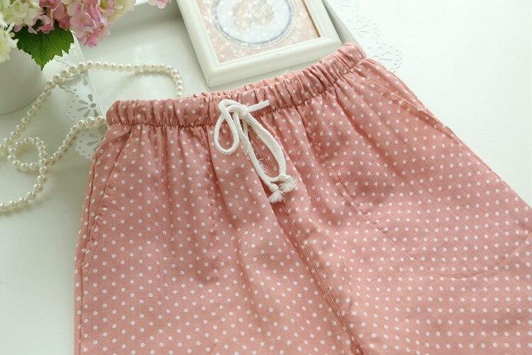 Spring Summer Women's Sleep Bottoms Pajamas Pants Trousers Polka Dot Women Lounge Pants Loose Cotton Home Pant Plus Size E1059 4