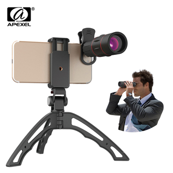 APEXEL 18X Telescope Zoom Mobile Phone Lens Monocular lens with mini selfie monopod tripod for iPhone Xiaomi and other cellphone