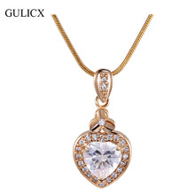 GULICX New Women Heart Pendants White /Gold-color Slide Murano Glass Pendant Druzy Stone Jewelry with Necklace P007/P008(China)