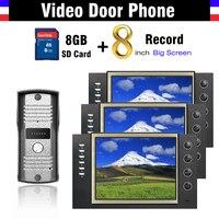 8 Screen Video Recording Video door phone Intercom System Video Doorbell Doorphone Speakerphone Intercom 8G Card record video