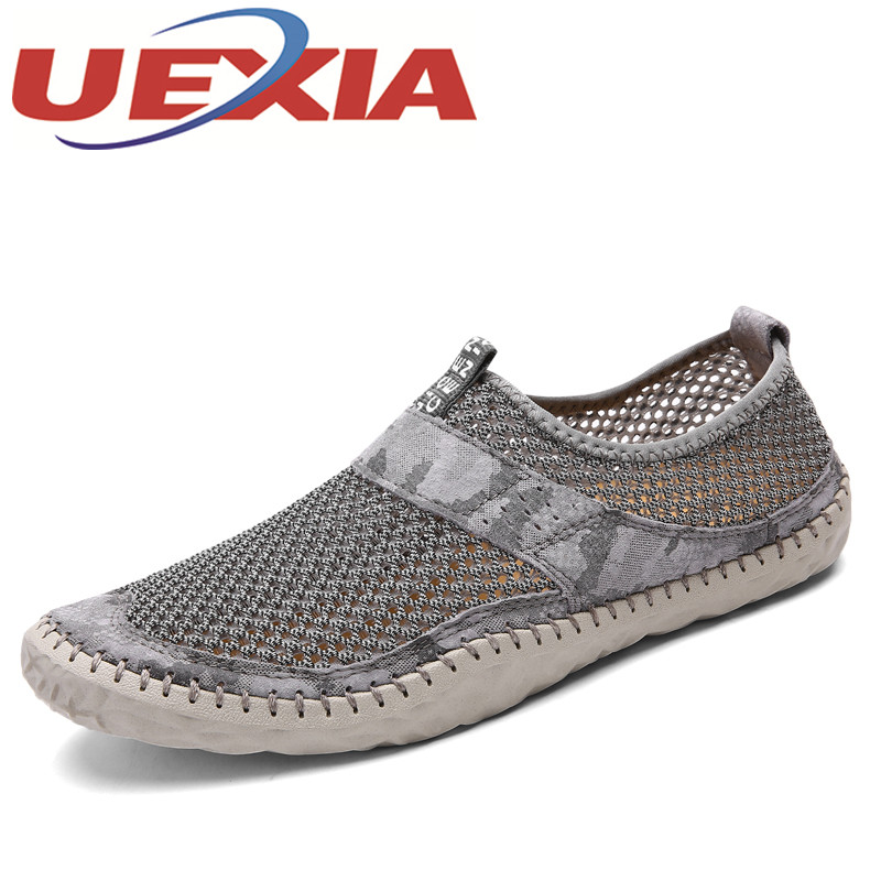 Summer Fashion Breathable Mesh Sneakers Men Outdoor Casual Flat Shoes Mens Lightweight Beach Water Shoes Slip On Calzado Hombre womens lightweight walking shoes casual breathable mesh fashion outdoor shoes slip on flat footwear new arrival 1yd926
