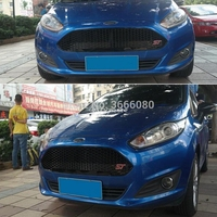 SHCHCG ABS Plastic Black Front Bumper Racing Center Grille ST Grills Bake Mesh Car Styling 1Pcs For Ford New Fiesta 2013 2017