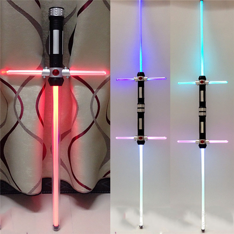 2pcs set Star Wars LED Lightsaber with Light Sounds KYLO REN Cross Laser Sword Toys Cosplay