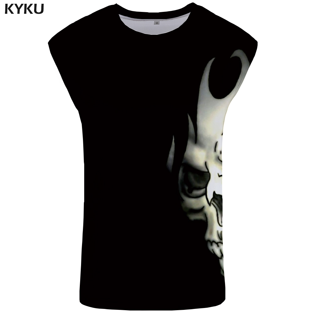 KYKU Skull Tank Top Men Black Ftness Clothing Devil Vest Rock Tanktop Undershirt Mens Bodybuilding Sleeveless Shirt muscle